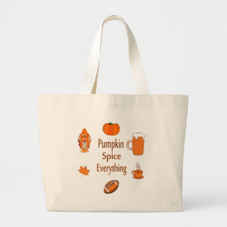 pumpkin spice everything large tote bag