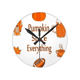 pumpkin spice everything round clock