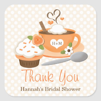 Pumpkin Spice Fall Bridal Shower Thank You Square Sticker