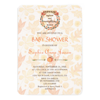 Pumpkin Spice Fall Thanksgiving Baby Shower Invitation