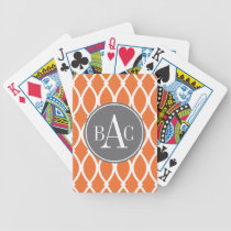 Pumpkin Spice Monogrammed Barcelona Print Bicycle Playing Cards