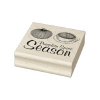 Pumpkin Spice Season Autumn Fall Latte Coffee Rubber Stamp