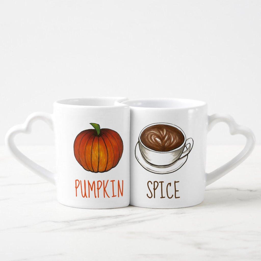 Pumpkin Spice Season Coffee Latte Autumn Fall Coffee Mug Set