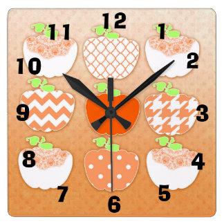 Pumpkin Spice Style Festive Autumn Pumpkin - Square Wall Clock