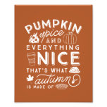 Pumpkin Spice Typographic Autumn Art Print
