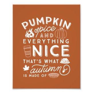 Pumpkin Spice Typographic Autumn Art Print Photo Print