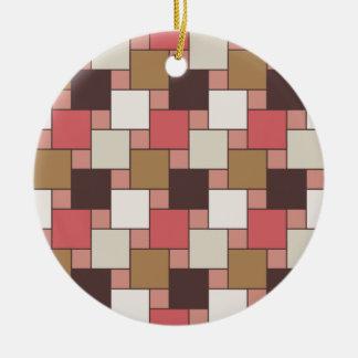 Pumpkin Spice Weave Pattern Ceramic Ornament