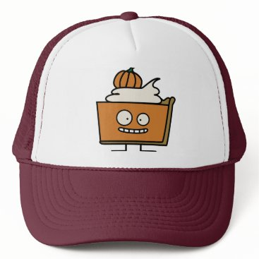 Halloween Themed Pumpkin spiced pie funny slice whipped cream crust trucker hat