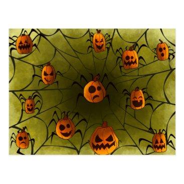 Halloween Themed Pumpkin Spider Postcard