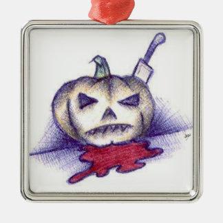 Pumpkin Stab Metal Ornament