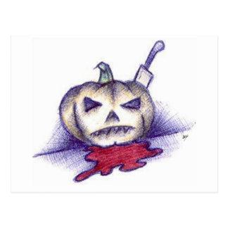 Pumpkin Stab Postcard