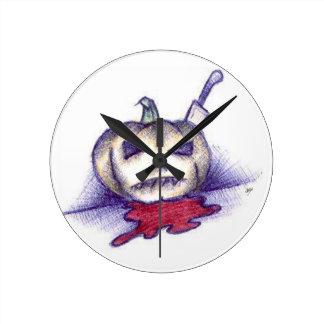 Pumpkin Stab Round Clock