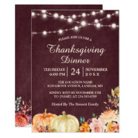 Pumpkin String Lights Floral Thanksgiving Dinner Invitation