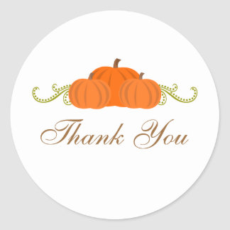 Pumpkin Swirls Fall Thank You Stickers