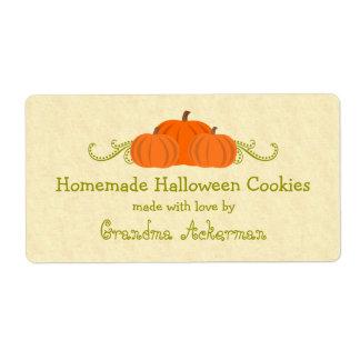 Pumpkin Swirls Halloween Baking Labels
