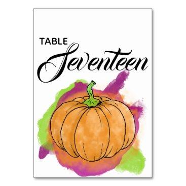 Halloween Themed Pumpkin Table Number