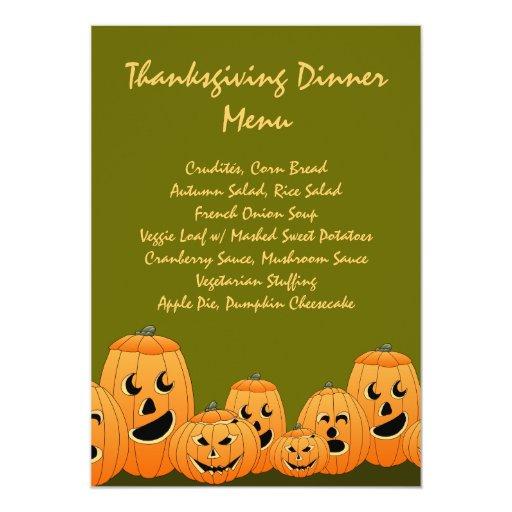 "Pumpkin Table (Veggie) Thanksgiving Dinner Menu 5"" X 7"" Invitation Card"