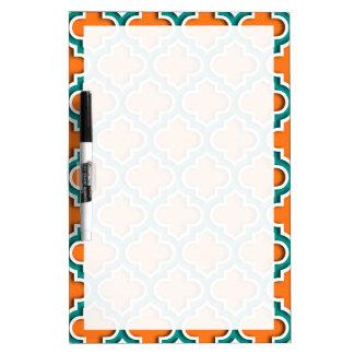 Pumpkin, Teal, White Moroccan Quatrefoil #5DS Dry Erase Whiteboards