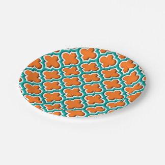 Pumpkin, Teal, White Moroccan Quatrefoil #5DS Paper Plate