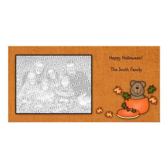 Pumpkin Teddy Bear Photo card