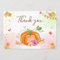 Pumpkin Thank you Card Girl Pink Floral Autumn