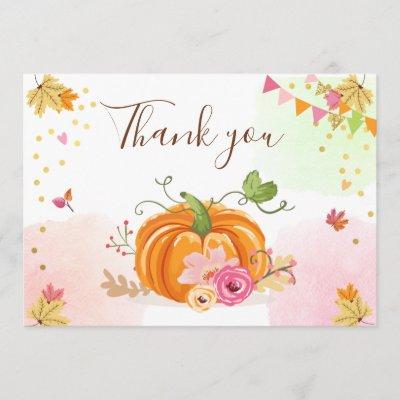 Floral Pumpkin Thank You Rustic Fall Autumn Shower Zazzle Com