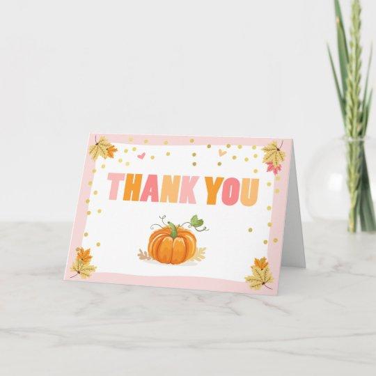 Pumpkin Thank You Card Pink And Gold Fall Autumn Zazzle Com