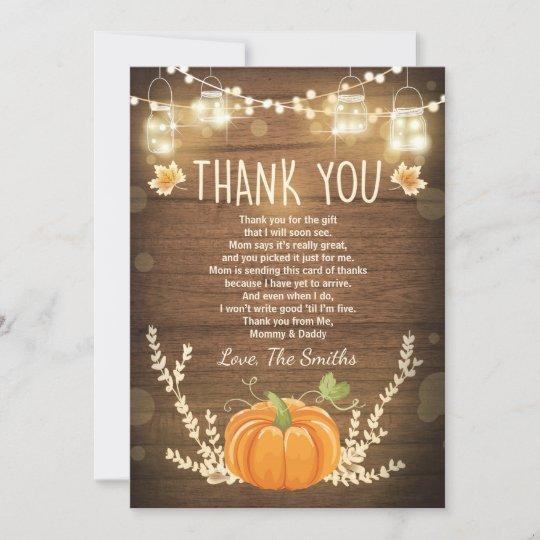Pumpkin Thank You Card Rustic Fall Baby Shower Zazzle Com