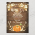 "Pumpkin thank you card Rustic Fall Baby shower<br><div class=""desc"">♥ A cute and fun baby shower thank you card to thank your guests! Pumpkin theme.</div>"