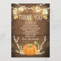 Pumpkin thank you card Rustic Fall Baby shower