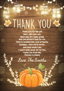 Pumpkin Baby Shower Thank You Cards Zazzle