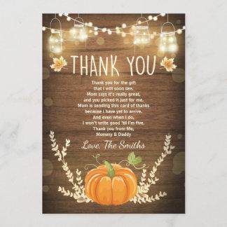 Pumpkin thank you card Rustic Fall Baby shower