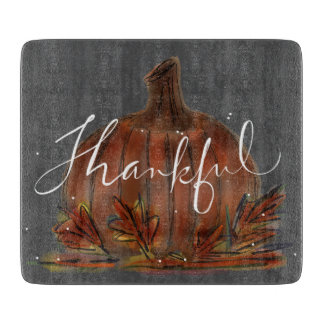 PUMPKIN THANKFUL CHALKBOARD GLASS CUTTING BOARD