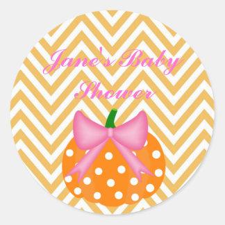 Pumpkin Themed Baby girl shower Sticker