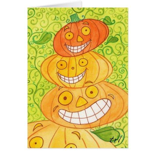 Pumpkin Totem Greeting Card