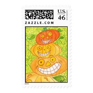 Pumpkin Totem Postage Stamps