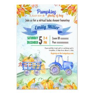 Pumpkin Tractor Virtual Baby Shower Invitation