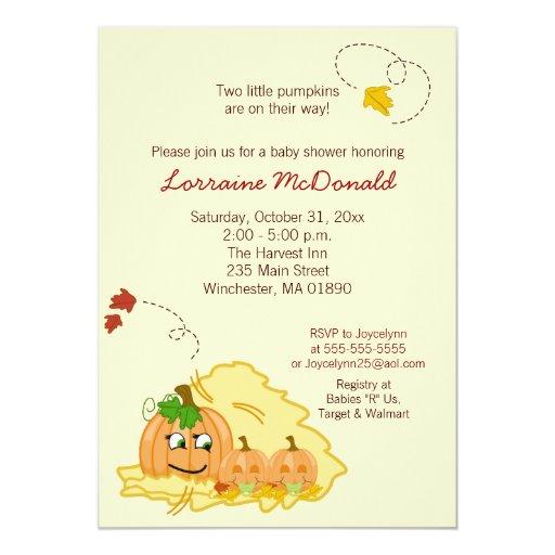 Pumpkin Twins (Neutral) Baby Shower Invitation