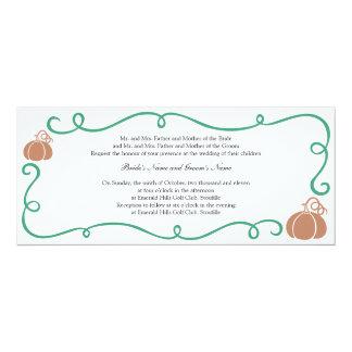 "Pumpkin & Vine Invitation 4"" X 9.25"" Invitation Card"
