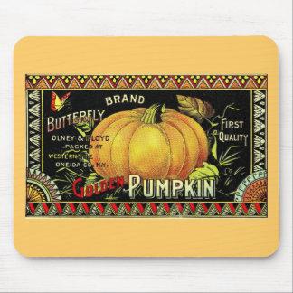 Pumpkin vintage label mouse pad