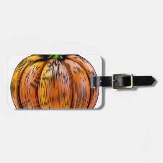Pumpkin vintage woodcut illustration luggage tags