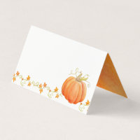 Pumpkin watercolor fall thanksgiving place cards
