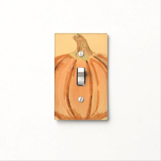 Pumpkin Watercolor Light Switch Cover
