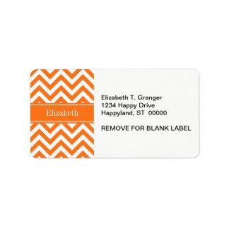 Pumpkin White Chevron, Pumpkin Name Monogram Custom Address Labels