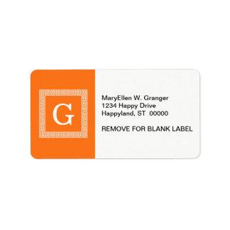 Pumpkin, White Greek Key #1 Framed Monogram Personalized Address Label