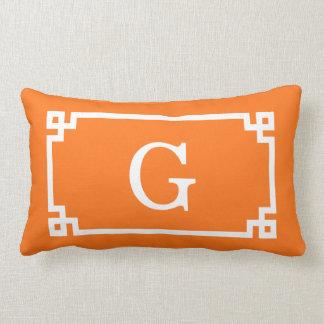 Pumpkin White Greek Key Frame #2 Initial Monogram Throw Pillows