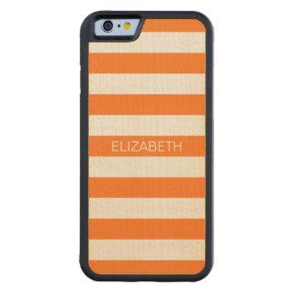 Pumpkin White Horiz Preppy Stripe Name Monogram Carved Maple iPhone 6 Bumper Case