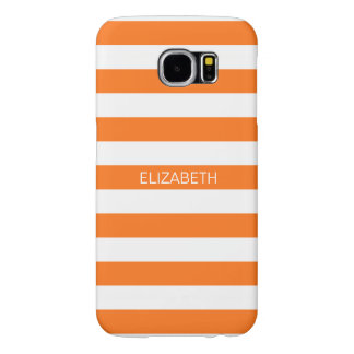 Pumpkin White Horiz Preppy Stripe Name Monogram Samsung Galaxy S6 Case
