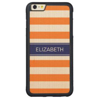 Pumpkin White Horiz Stripe Navy Blue Name Monogram Carved Maple iPhone 6 Plus Bumper Case