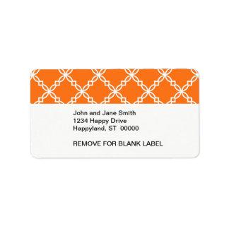 Pumpkin White Large Fancy Quatrefoil Pattern Personalized Address Labels